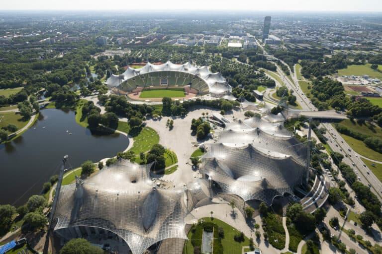 Der Münchner Olympiapark von oben